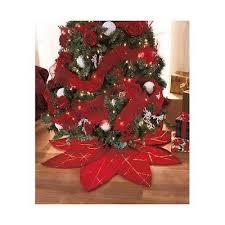 Christmas Tree Skirt Red Poinsettia Xmas Home Decoration Holiday Seasonal Decor