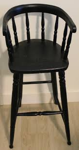 Windsor Child's Black Wooden High Chair 1800