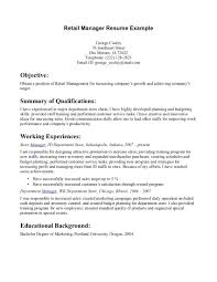 ResumeObjective For Resume Retail Cashier Example Summary Manager Inside Examples Assistant Position Sales Associate