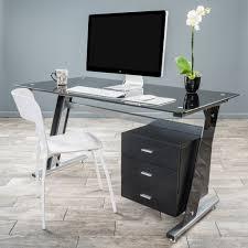 Black Glass Corner Computer Desk by Furniture Black Glass Computer Desk With Storage Plus White Chair