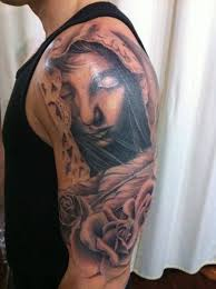 Lovely Rose With Praying Angel Girl Face Tattoo On Half Sleeve
