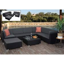 poly rattan garnitur hwc g79 balkon garten lounge set gartenmöbelset sitzgarnitur sofa schwarz kissen dunkelgrau
