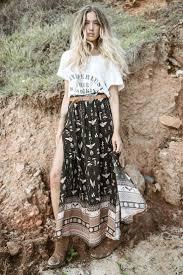 Phoenix Boho Maxi Skirt In Mustang Black And Tan Aztec Bohemian Border Size Small