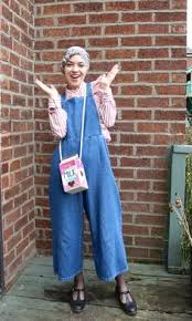 Vintagonista Vintage Denim Culotte Dungarees Wide Legged Cropped Overalls Candy Cane Striped Ruffled