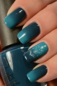 Dark Green And Blue Ombre Nail Art Step Up Your Game By Adding Silver Designs On Top Of Color Combination