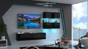 moderne wohnwand agnes nx 44 hochglanz led beleuchtung