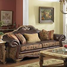 Wonderful Leather Sofa By Kathy Ireland Furniture On Wooden Floor With Floral Rug Matched Brown Interesting