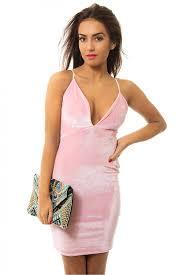 flamingo pink velvet bodycon mini dress from the fashion bible uk
