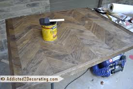 diy chevron wood table top with distressed painted finish