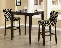Artistic Zebra Mini Bar Chairs Mixed With Square Wooden Table Set On Laminated Floor