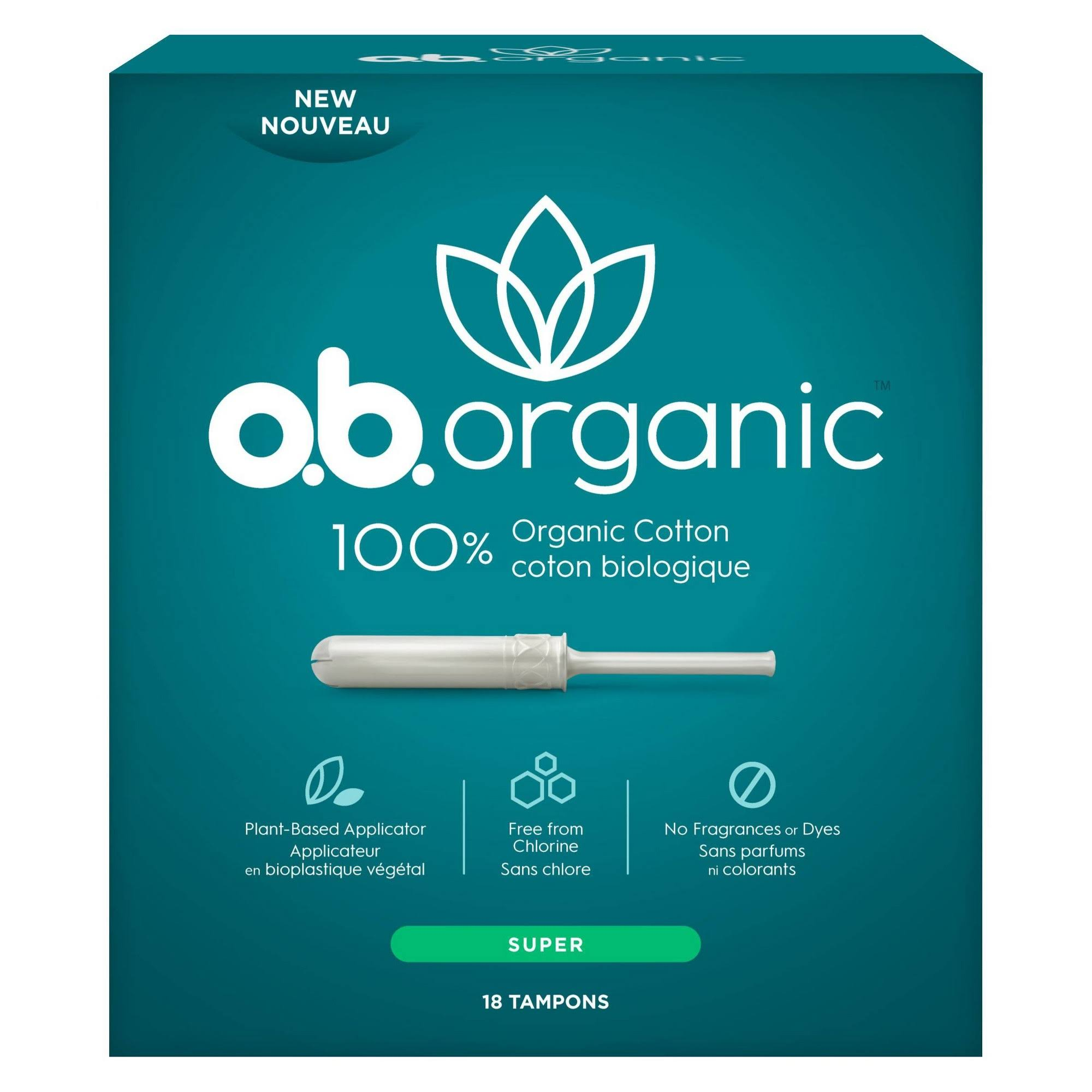 O.b. Organic Applicator Tampons - Super Absorbency, 18ct