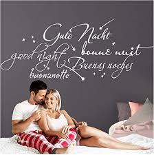 grandora wandtattoo gute nacht international i weiß bxh 130 x 55 cm i schlafzimmer kinderzimmer selbstklebend aufkleber wandaufkleber sticker w761