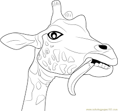Giraffe Funny Face Coloring Page