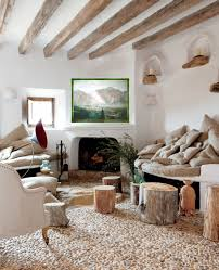 Beautiful Natural Rustic Lounge Room Interior Design With Simple Fireplace Brushed Coral Or Pebble Stone Flooring Nail Trim Armchair Small