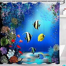 unterwasserwelt duschvorhang wasserdicht anti schimmel bad vorhänge fisch und pflanzen muster polyester stoff wohnkultur zubehör mit 12 vorhang haken