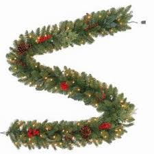 Martha Stewart 9 Ft Winslow Artificial Garland With 100 Clear Lights GT90P4598C00