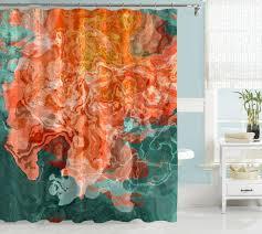 Abstract art shower curtain Coral Blue Green Green Golden