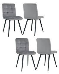 4er set esszimmerstuhl polsterstuhl grau stoff samt 8043b