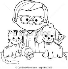 Vector Clipart Of Veterinarian And Pets Coloring Book Page