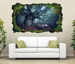 3d wandtattoo baum landschaft herbst dunkel magisch laub wald selbstklebend wandbild wandsticker wohnzimmer wand aufkleber 11o182