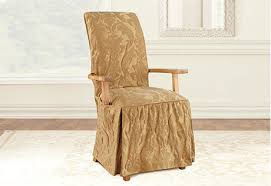 Sure Fit Dining Chair Slipcovers by Sure Fit Matelasse Damask Arm Long Dining Chair Cover