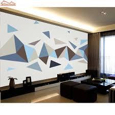 shinehome cool melodie blau grau geometrische muster 3d mural rollen tapete für wohnzimmer tapeten kunst roll papel de parede