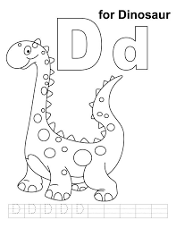 Nonsensical Dinosaur Coloring Pages For Toddlers D Page With Handwriting Practice