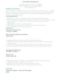 Sample Resume For Electrician Of Industrial Technician Apprenticeship