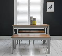 Annika Dining Table And Benches In Silk Grey Natural Pine