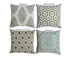 throw pillow covers 18x18 spa blue pillow blue green pillow