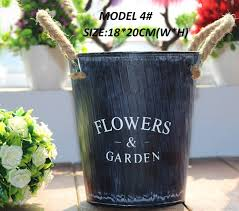 5PCS PACK Flower Pots Country Vintage Style Rustic Metal Garden Decor Bucket Centerpiece Vase