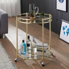 wohnling design servierwagen gold ø 57 cm beistelltisch teewagen metall mit rollen küchenwagen mit glasplatten barwagen rund 75 cm hoch