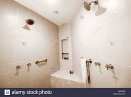 bathroom in modern hotel with white tile stock photo alamy