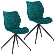duhome 2er set esszimmerstuhl polsterstuhl aus stoff samt petrol blau grün gesteppt metallbeine