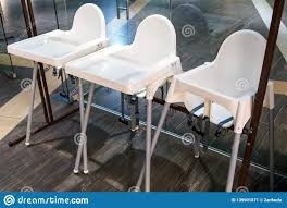 Children Dining Chairs In Cafe, High Chairs For Baby Stock ...