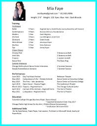 Dance Resume Template For College Example Lifespanlearn