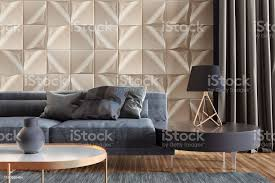 luxuriöses wohnzimmer mit goldenen wandfliesen und kopierraum stockfoto und mehr bilder 2019