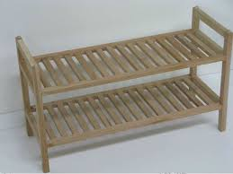 Furniture Alluring Exterior House Design Idea With Simple Oudoor Shoe Rack Made Of Wooden Material