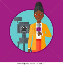 An African American Smiling Reporter With Microphone Standing On The Background Camera TV Create A Lightbox