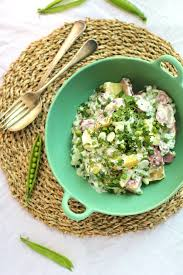 Fingerling Potato Salad With Peas And Greek Yogurt Lime Dressing