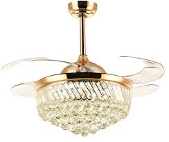 42 Inch Chandelier Ceiling Fans With Lights Retractable Blades Dimmable Led Light Invisible Crystal Fan For Dining Room Bedroom Restraunt