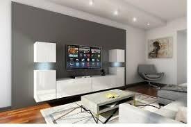 details zu moderne wohnwand future 32 hochglanz led beleuchtung möbel wohnzimmer groß