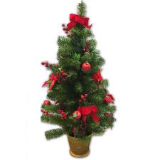 90CM DECORATED TREE RED W GOLD BASE Table Trees Christmas Trees
