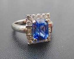 18ct White Gold Sapphire Diamond Ringnatural Sri Lankan Ring