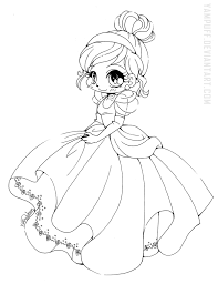Deviantart Coloring Book Cinderella Chibi Lineart By Yampuff On