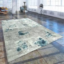 kurzflor wohnzimmer teppich used look modern abstraktes