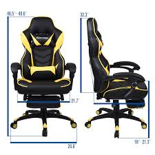 100 Wood Gaming Chair Executive Racing Office Seat Computer High Back Leather