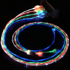 Flowing Led Visible Flashing Usb Charger Cable 1m 3ft Data Sync