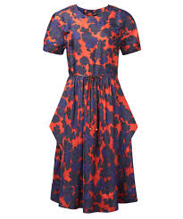 marc by marc jacobs red and blue floral print silk dress in red lyst