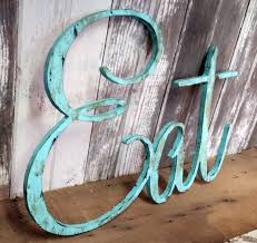 Rustic EAT Sign Shabby Chic Aqua Wall Hanging Home Decor Photo Prop Cottage Teal Farmhouse Primitive Gift Distressed Aged Style Personalized USD By